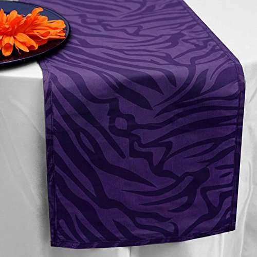 BalsaCircle 12 x 108-Inch Purple Safari Animal Print Zebra Table Top Runner - Wedding Party Reception Linens Decorations ()