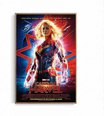 taoyuemaoyi Cartel De La Película Capitán Marvel Cat Space Superhero Poster and Prints Arte De La