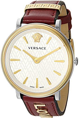 - Versace Women's Manifesto Edition Swiss-Quartz Watch with Leather Calfskin Strap, red, 11 (Model: VBP020017)