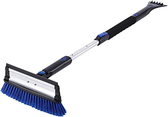 SUPERJARE Telescoping Snow Brush with Integrated Ice Scraper & Squeegee Head