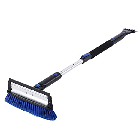 SUPERJARE Telescoping Snow Brush with Integrated Ice Scraper & Squeegee  Head, Extendable Snow Broom with Foam Grip Suitable for Small Car,  Blue/Black