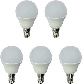 A2BC - Pack x5 Bombilla LED esférica 6W luz fría (6000K) no regulable, E14, 470 Lm, 25000 horas de vida, Encendido ultrarrápido: Amazon.es: Iluminación