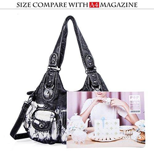 Handbag PU Hobo Multiple Bag Satchel ladies' Women Bag Shoulder Handbag Roomy Black Pockets Street Fashion W7127z Tote Women for EHwnCdPq