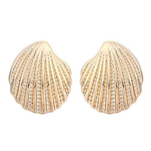 Conch Earrings Gold Shell - MUZHE Fashion Sea Shell Earrings Seashell Stud Earrings Beach Conch Earrings Nautical Ariel Mermaid Studs Women Jewelry (Gold)