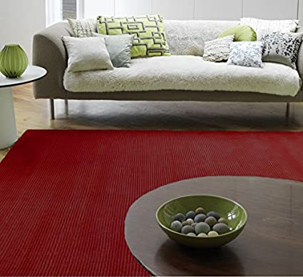 Merveilleux The Rug House Bellagio Solid Colour 100% Viscose Hand Woven Deep Red Living  Room Rugs
