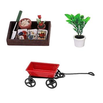 Amazon.es: Sharplace Miniatura Accesorios de Jardín Rojo Carrito Metálico Planta Verde en Maceta Herramienta de Jardinería para Dollhouse Escala 1:12: ...