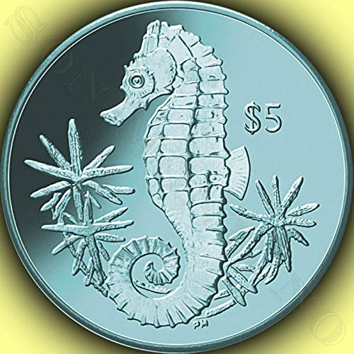 SEAHORSE - Turquoise Titanium 5 Dollar Coin in Box with Certificate of Authenticity - 2014 British Virgin Islands $5