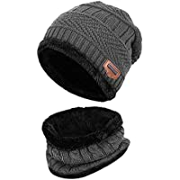 Aruny Wintermütze Hut Mütze Loop-Schal Sets Für Männer & Frauen gestrickt Strickmütze