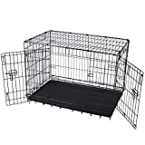 36″ Double Door Folding Metal Dog Crate Pet Cage PCT02 For Sale