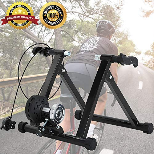 Bike Trainer Stand Bicycle Exercise Stand Stationary Bike Stand for Indoor Riding with Noise Reduction Wheel Portable 5 Levels Resistance Magnetic Road Mountain Cycling Trainer Stand Supports 300LBS