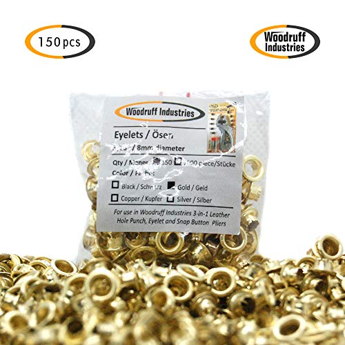 Woodruff Industries 1000 Pieces Metal Eyelets Gold Grommets Nickel Plated Iron Metal 5 mm Hole Multi Grommet Tool Kit Clothes and Leather Eyelet for Arts Crafts Scrapbook and Shoes