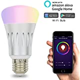 Smart Light Bulbs Wifi Light Bulb,Dimmable Multicolored LED Lights 7W Works with Echo Alexa and Google Home, No Hub Required