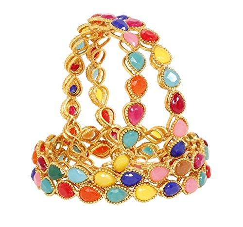 Joyeria Zircon Fashion Indian Bollywood Designer Multi Color Bangle Bracelet 4Pc Set (2.6)