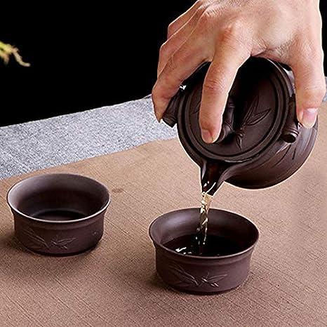 chinesisches Tee-Set Papier 5pk color aus violettem Ton handgemachte chinesische Yixing-Teekanne violett La Haute
