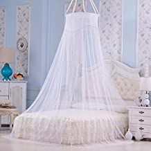 Elegant Round Lace Palace Princess Mesh Mosquito Net Fabric Insect Bed Canopy Curtain Dome For Bedding Decor White