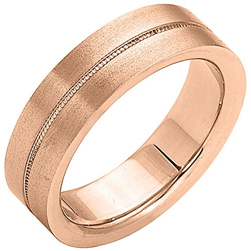 14K Rose Gold Mens Wedding Band 6mm Satin Milgrain Comfort Fit
