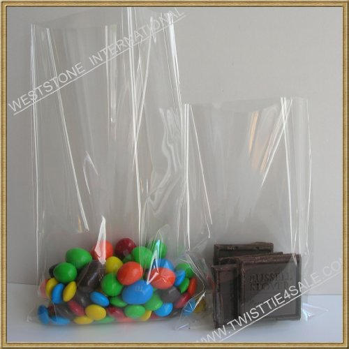 Weststone - 100pcs 6'' x 10'' - 1.5mil Crystal Clear Cello Bags Treat Bags Flat Top Open for Cake Pop, Lollipop Candy or Small Homemade Arts by Weststone