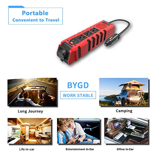 BYGD 150W Car Power Inverter DC 12V to 110V AC Converter with 3 Charger Outlets and Dual 2.4A USB Ports Car Cigarette Lighter Adapter by BYGD (Image #4)