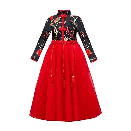 Quskto - Vestido de Hanfu para niñas, Estilo Chino, Vestido de ...