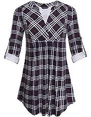 betsyrando Womens Zipped Plaid V Neck 3/4 Roll Sleeve Casual Loose Blouses Pleated Tunic Tops