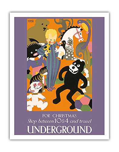 For Christmas Shop between 10 & 4 and Travel Underground - London Underground (The Tube) - Vintage Railroad Travel Poster by Horace Taylor c.1924 - Fine Art Print - 11in x 14in