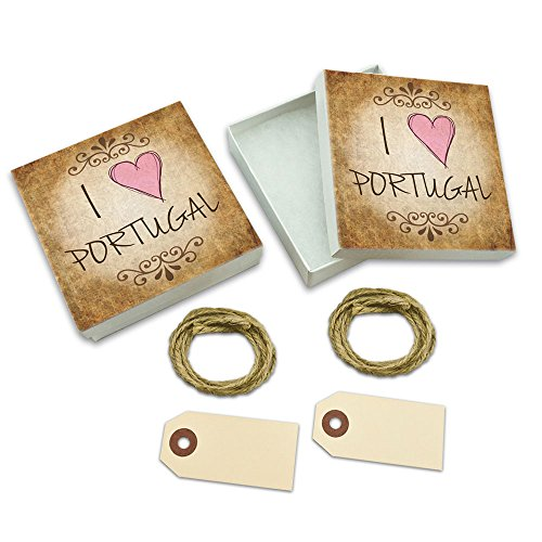 I Heart Love Portugal Vintage White Gift Boxes Set of 2