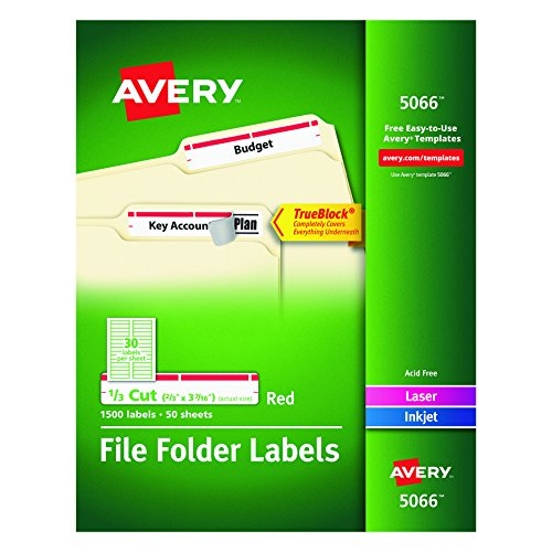 Red File Folder Labels (Avery Red File Folder Labels for Laser and Inkjet Printers with  TrueBlock Technology, 2/3 x 3-7/16 Inches, Box of 1500 (5066))