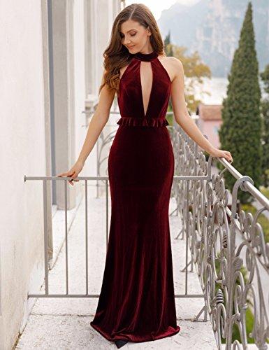 de Bordeaux Ever A Longue en Robe Soire Femme Moulante Pretty 07180 Veulours 77WBqPEw