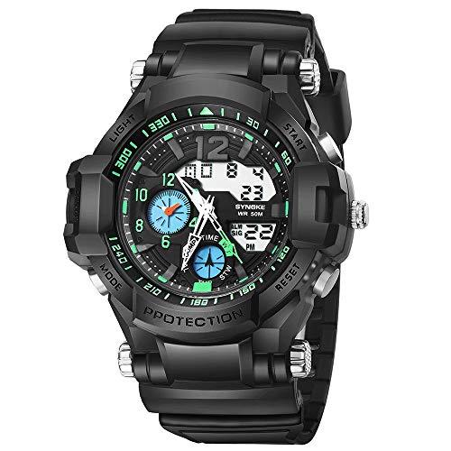 iNoDoZ Men's Sport Watch,Outdoor Fitness Multi-Function 50M Waterproof Watch LED Digital Double Action Watch