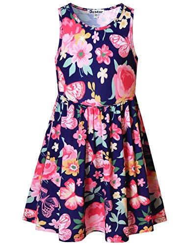 (Flower Butterfly Dresses for Big Girls 12 13 Sleeveless Swing Casual Dresses)