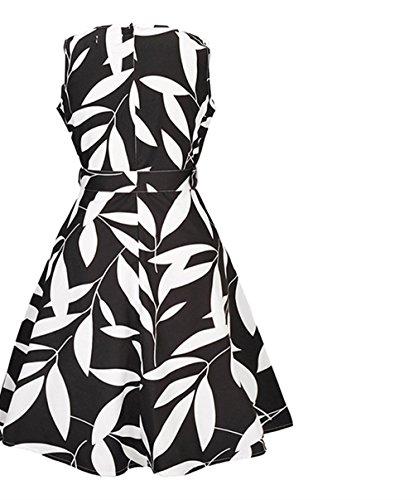 Ceinture Rtro Robe de Style Hepburn Weekendy Robe Manches Black Ronde sans de Robe Robe HFqRA