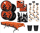 Halloween Party Plates Napkins 18 Guests With Hanging Bat Whirls Haunted House Centerpiece and Table Cover