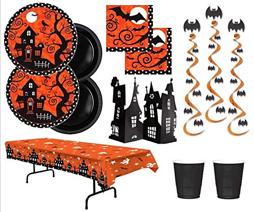 Halloween Party Plates Napkins 18 Guests With Hanging Bat Whirls Haunted House Centerpiece and Table Cover for $<!--$42.99-->