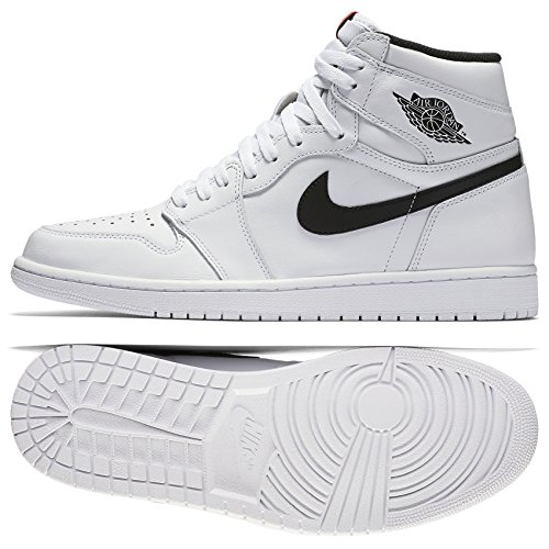 Jordan Air 1 Retro OG (Yin Yang), White/White/University Red/Black, 11 D(M) US (Jordan 1 Retro)