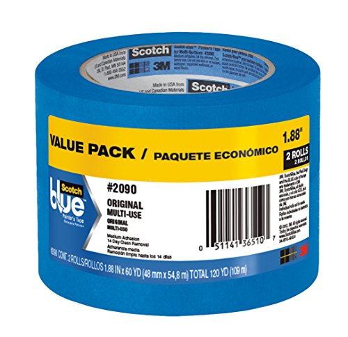 Scotch Blue Painters Tape (ScotchBlue Painter's Tape, Multi-Use, 1.88-Inch by 60-Yard, 2 Rolls)