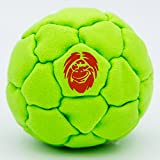Best Hacky Sack and Footbag | No-Bust Stitching for Hard Kicking | 32 Panel Symmetry for Balance Tricks and Stalling | Professionally Hand-Stitched with Suede Material (Sand, Green)
