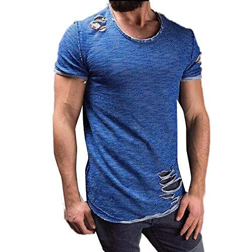 XQXCL ☆ Fashion Men Tshirts Fitness Tee Tops Casual Solid Skinny T-Shirts Short Sleeves Streetwear T Shirts Blue