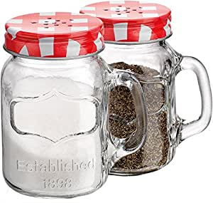Set of 2 Clear Glass Mason Jars Salt and Pepper Shakers with Handles ~ 5-oz Spices Canisters with Screw-on Gingham Stainless Steel Lids