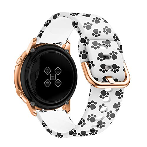 Joberry Graphic Print Watchband Replacement for Samsung Galaxy Watch Active, Silicone, Sport Fashion (Paw Print)
