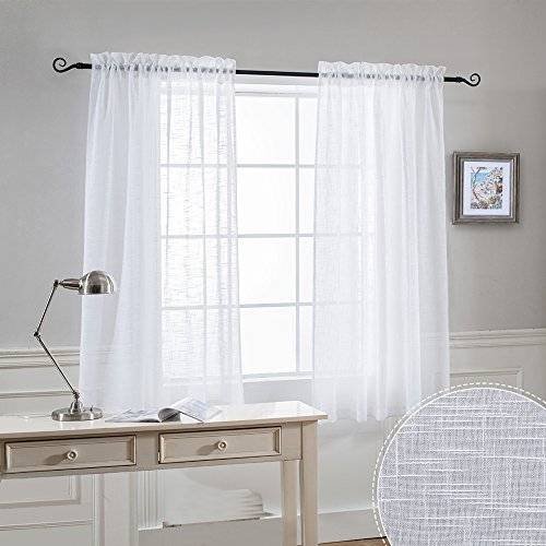 Premium White Voile Window Dressing - RYB HOME Decoration Open Weave Semi Sheer Window Treatments Panels for Bedroom / Nursery / Kitchen, Each Panel 52 Wide by 45 Long inch, Set of 2 (Voile Window)