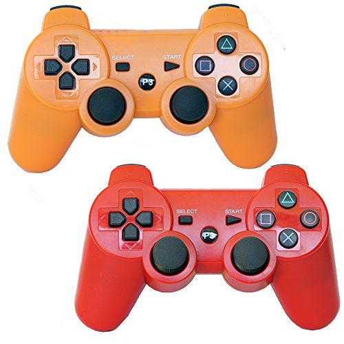 Pack of 2 Bluetooth Dual Vibration Wireless PS3 Remote Controllers For Use With Playstation 3 (Red/Orange)