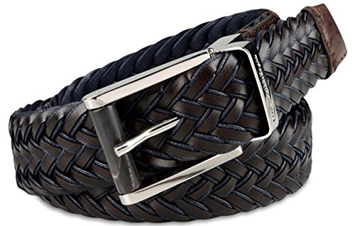 - Ermenegildo Zegna Men's Braided Leather and Cotton Weave Belt (44US / 110EU, Dark Brown)