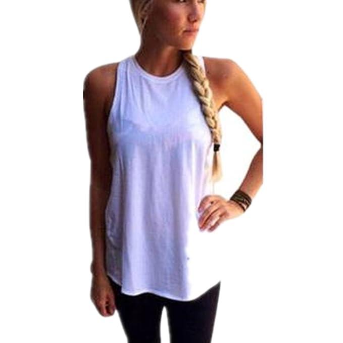 HARRYSTORE Sport Tank Tops Mujer Camisetas Deportivas Sueltos y Elásticos dvidir de Nuevo Mujer Camisetas Sin