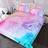Purple and Blue Bedding Sets BlessLiving Colorful Marble Bedding Pastel Pink Blue Purple Duvet Cover Set Marble Abstract Art Bed Set 3 Piece Bright Girly Bedspreads (Full)