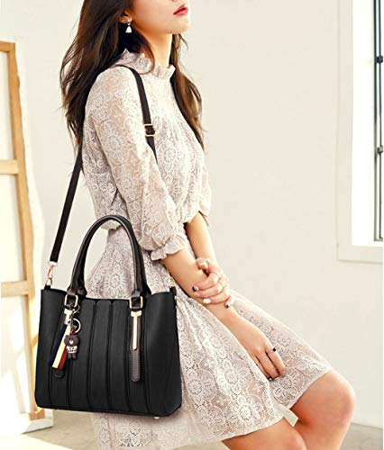 Top Bags Cross Faux Handbags Leather Bags Black Women's Shoulder Body Bags Handle fwq4x4p7R