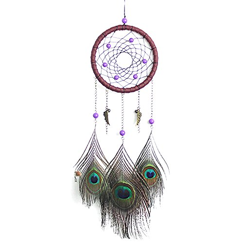 Chinatera Handmade Unique Feather Peacock Dream Catcher Weave Car-Wall Hanging Ornament Gifts