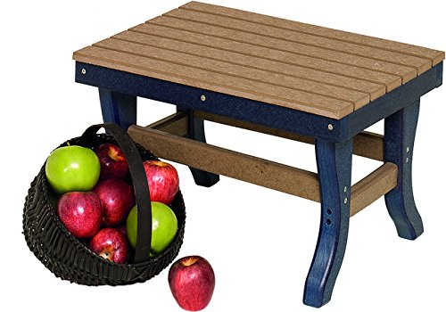 Country Outdoor Ottoman - Poly Lumber Stationary Ottoman in Bright Red - 7 Premium Colors - Amish Made in USA