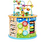 MEIDUO toys Large 8 in 1 Bead Maze Cube First Toddlers Learning Toy Wooden Activity Center Educational Toys for Babys Kids