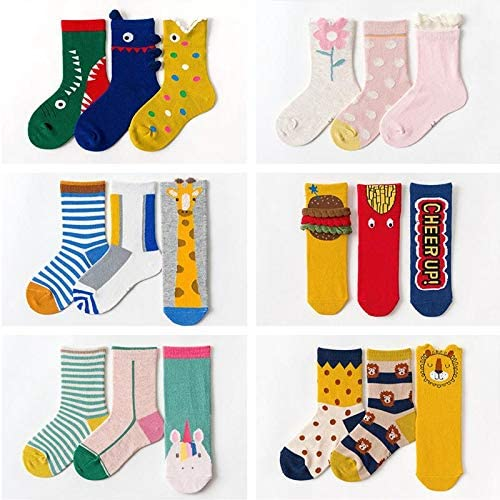 Scrox 3 Pairs Baby Kids Cotton Crew Socks Warm Comfortable Winter Autumn Cute Cartoon Shark Print Blue and Gray Casual Sport Socks Gift for 0-12 Years Old Boys Children
