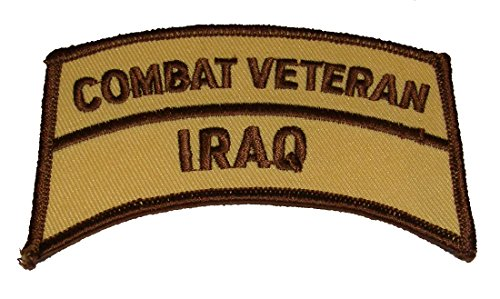 COMBAT VETERAN IRAQ TAB ROCKER PATCH - Desert Camo Colors - Veteran Owned Business